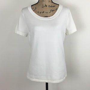 August Silk Scoop Neck Short Sleeve Blouse sz XL